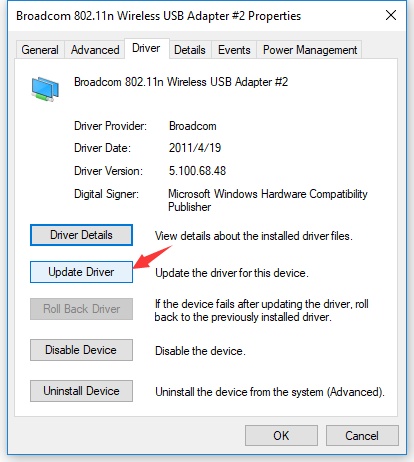 How to install the driver of Linksys AE2500 on Broadcom